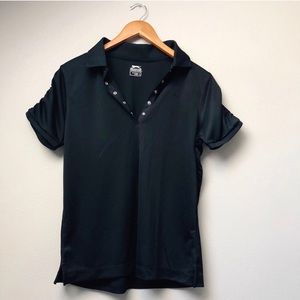 Solid Black Athletic Polo